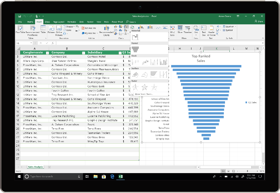 An image shows a device using Excel in Office 2019.