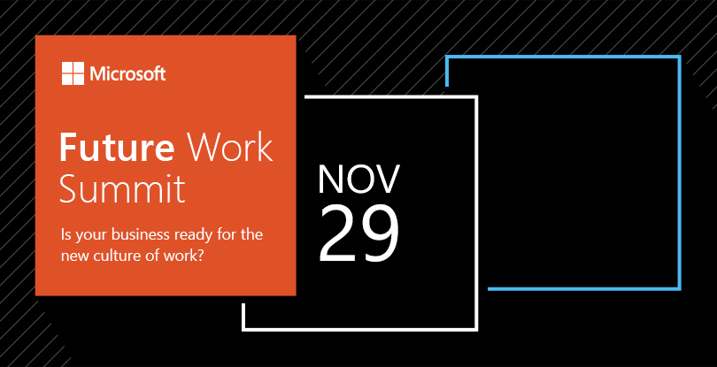 Future Work Summit-Is your business ready for the new culture of work? title and Microsoft logo