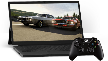 A Windows 10 PC showing the Windows Xbox app and an Xbox controller