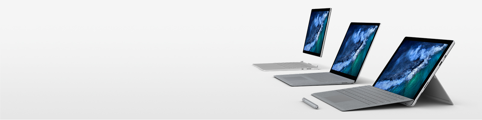 Surface Pro, Surface Laptop, and Surface Book 2 shown with Surface Pen