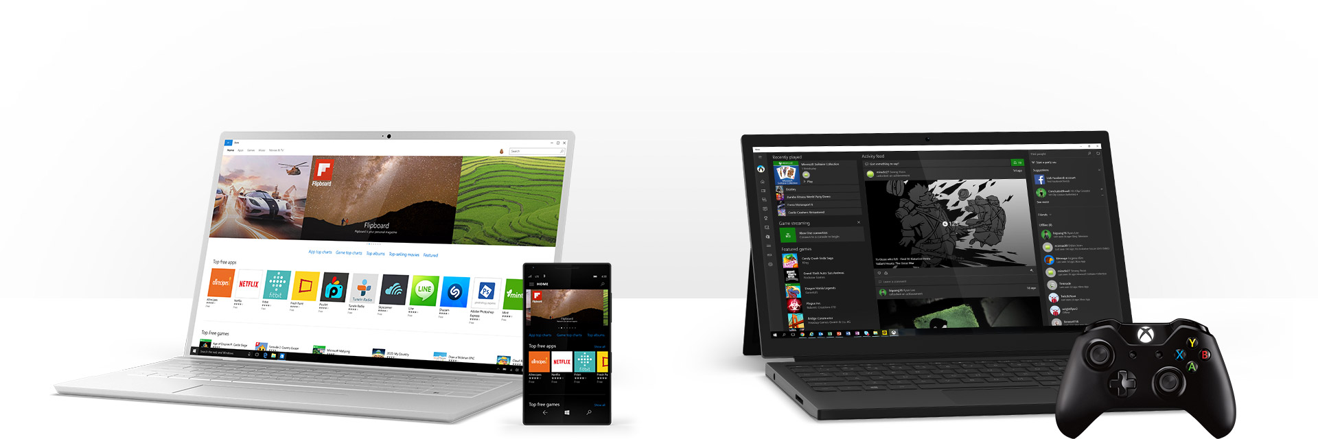 A Windows 10 PC showing apps in the Windows Store and a Windows 10 PC showing the Windows Xbox app and an Xbox controller