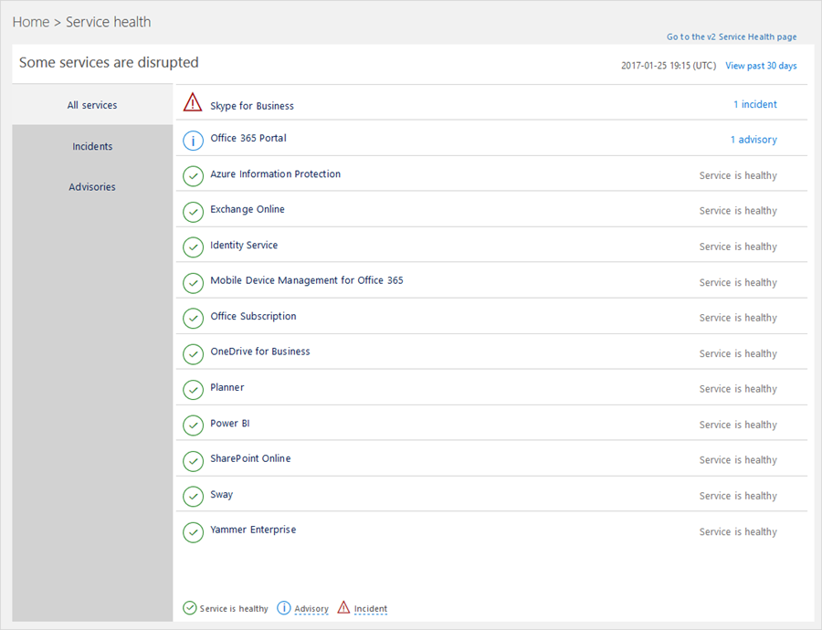 What's new in Office 365 administration—new Service health