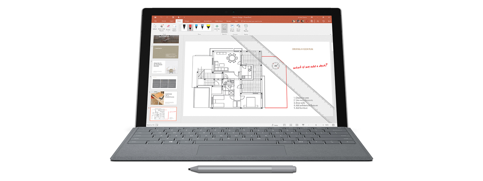 Screen shot of a floor plan with Surface Pen, notations, and on-screen ruler