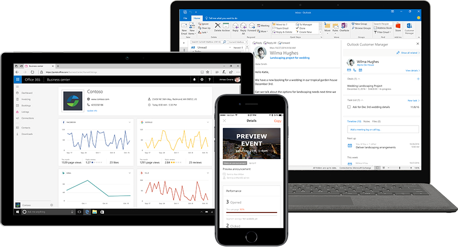 Three devices show Microsoft Listings, Connections, and Outlook Customer Manager.