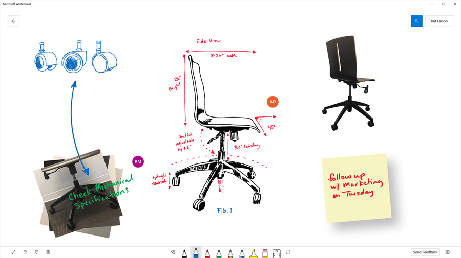 Image showing how a team used the Microsoft Whiteboard to visualize the engineering of a office chair.