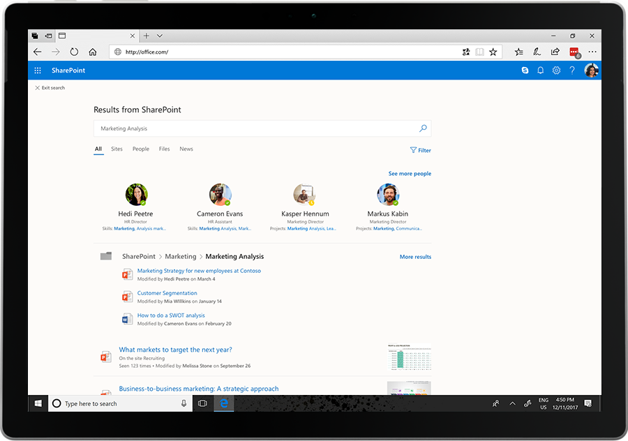 Image showing the results of an intelligent search in SharePoint.