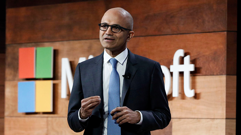 Satya Nadella speaking at a conference