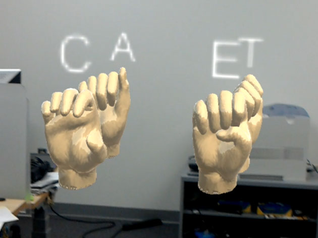 Floating HoloLens-generated hands, palms facing front