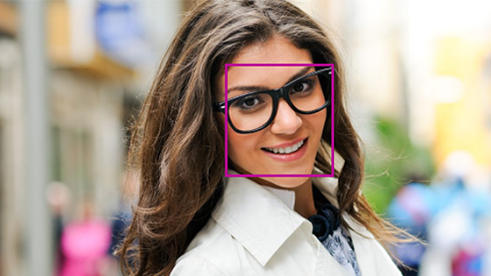 A square is outlined on a woman's face