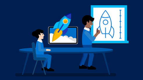 An animated man draws a rocket, while another animated man sits at a desk where a rocket appears to be coming out of a computer screen.