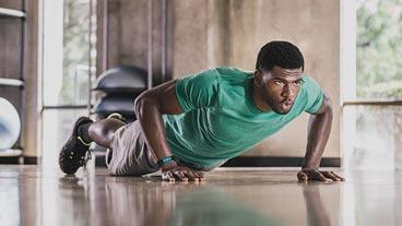 Man doing pushups, learn about Microsoft Band