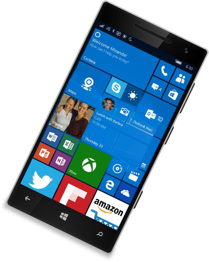 A Windows phone with Cortana on the screen