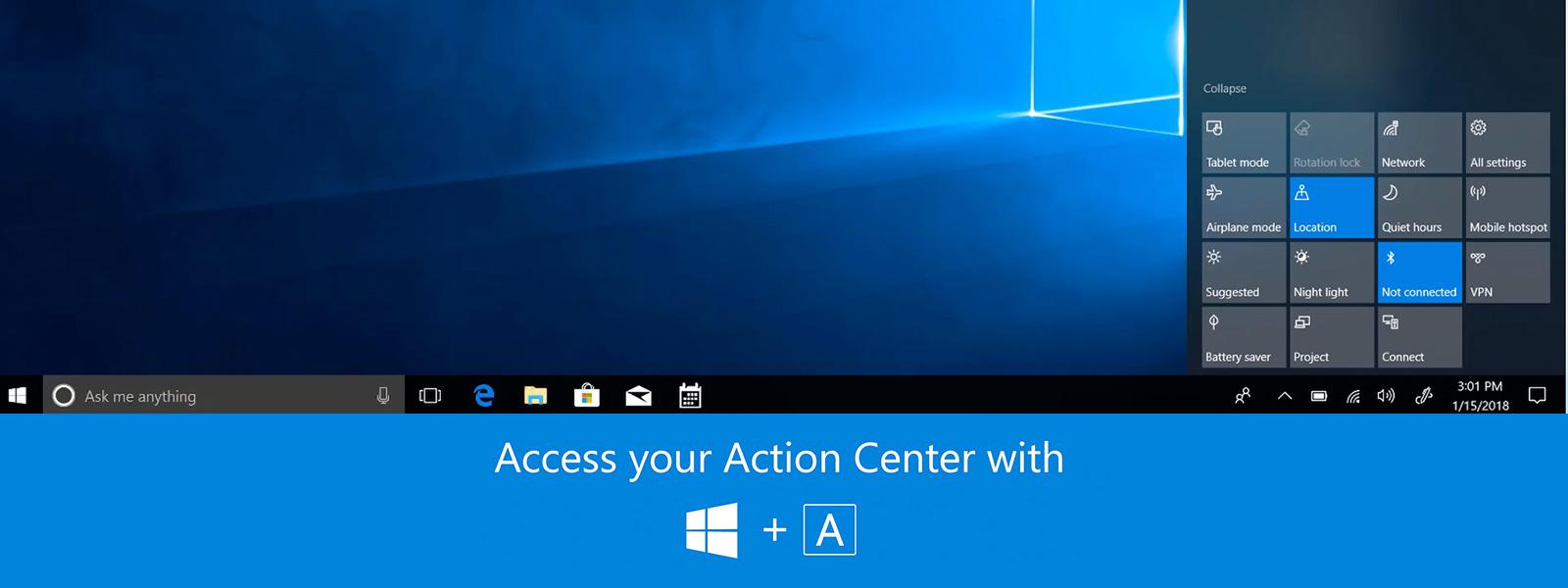 Still screen of Action Center video