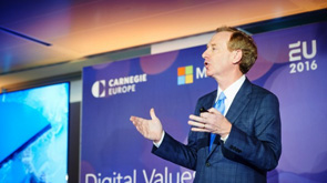 Microsoft President and Chief Legal Officer Brad Smith giving a presentation