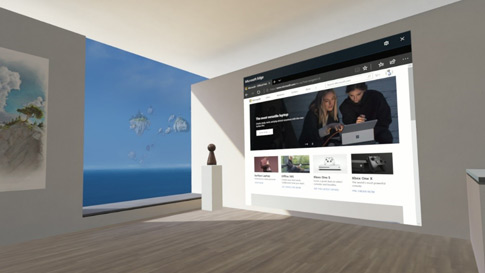 Image of a virtual room with an Edge browser screen projecting on a wall