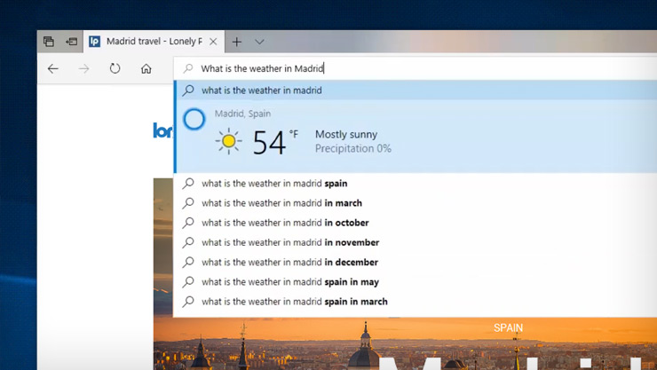 Screen image of Cortana serving up the weather in Madrid from within the Edge browser