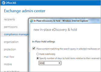 A close-up of the In-Place eDiscovery & Hold page in the Exchange admin center.
