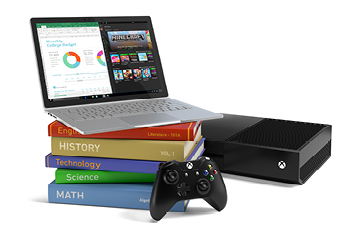 A laptop, Xbox Console and books; Back to school Study and Play bundle