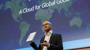 "Microsoft CEO Satya Nadella holding the book, ""A Cloud for Global Good"""