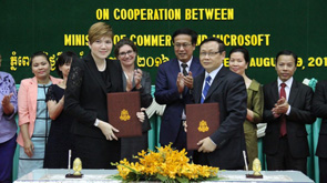 Microsoft and Cambodia officials at an official announcement of partnership