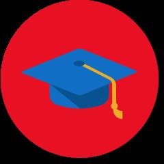 School icon with graduation cap