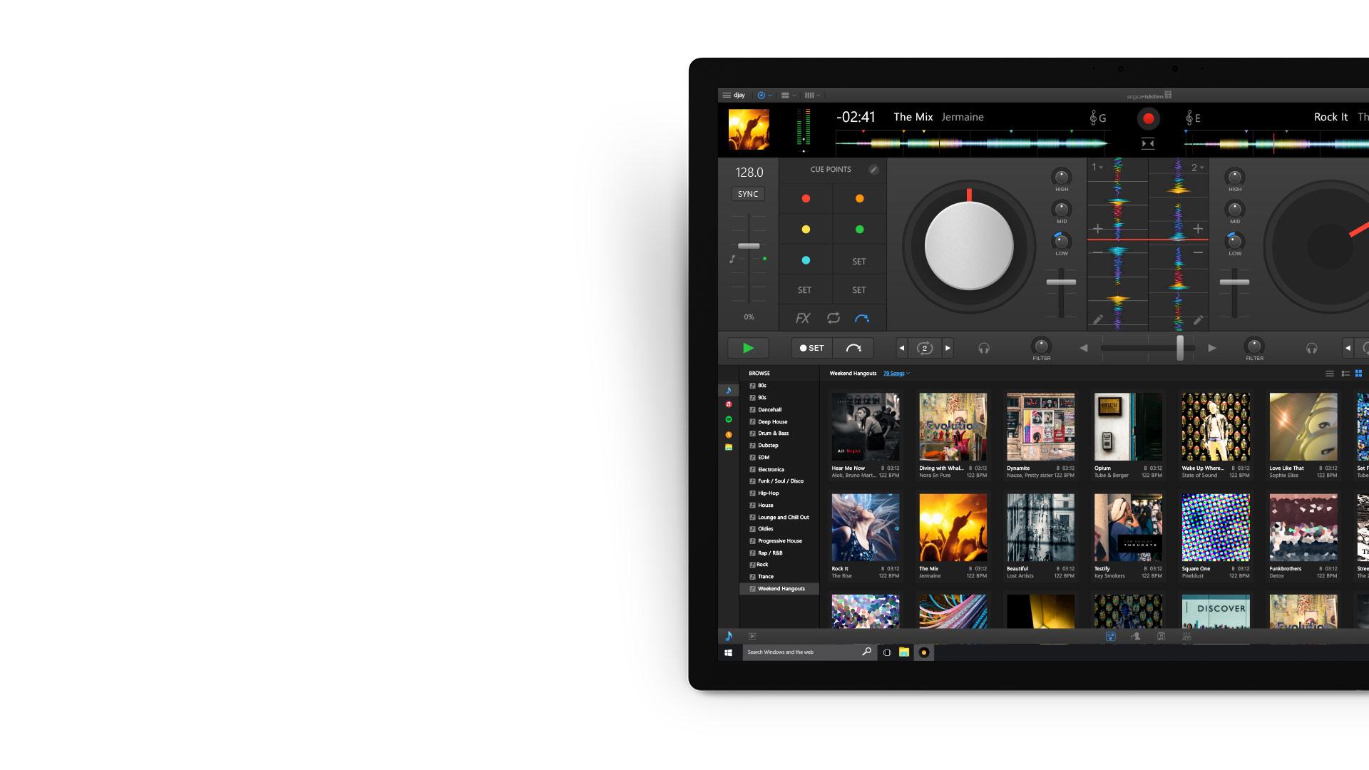 Djay Pro app on Surface device.