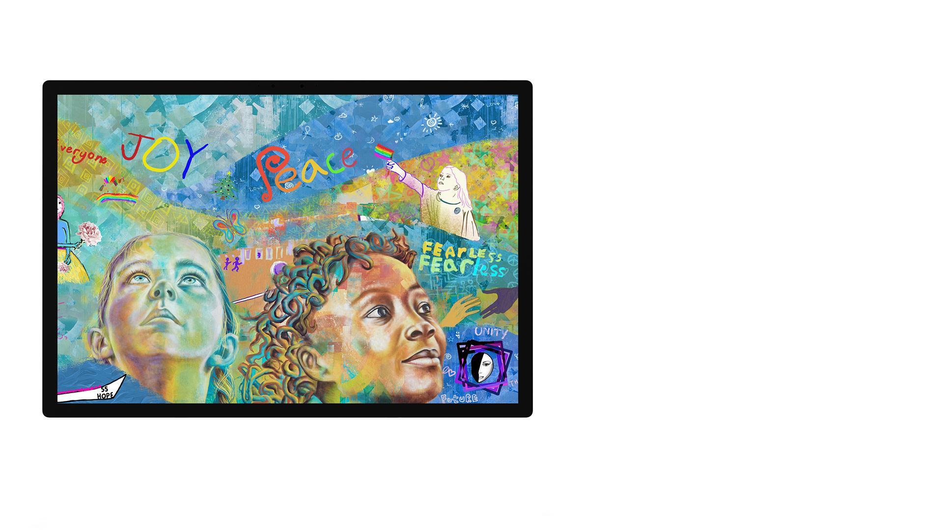 "Surface Studio display showing the photos app UI"" PixelSense™ Display"