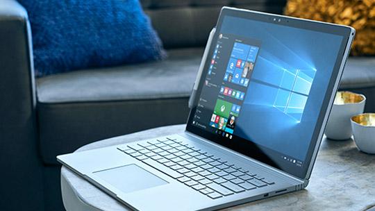 Microsoft Surface Book with Windows 10 start menu