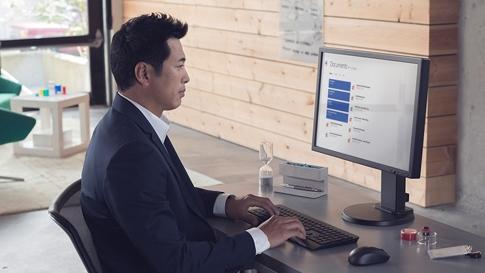 Man working at desktop