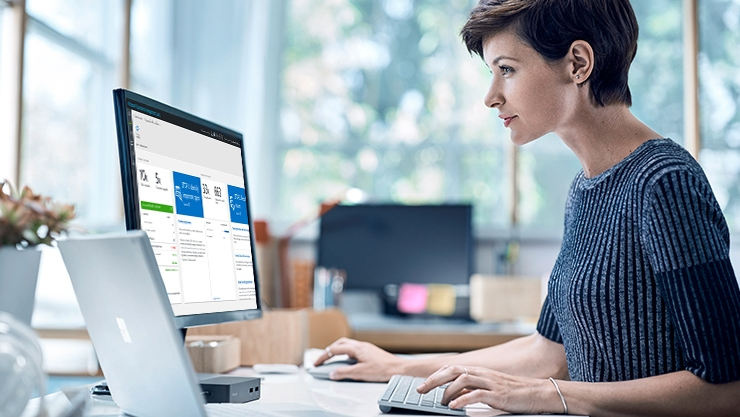 A woman using Windows Analytics
