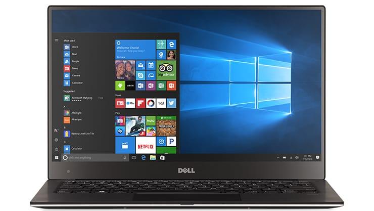 Windows 10 laptop start screen