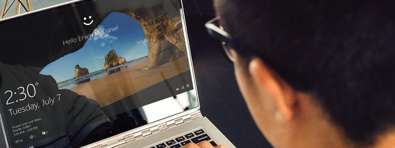 Man signs into laptop using Windows Hello