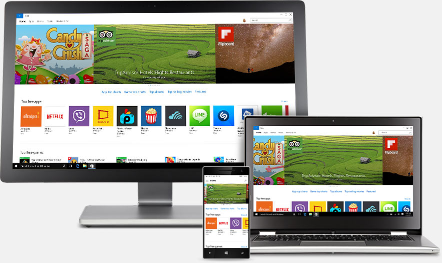 A laptop, phone, and monitor each displaying images from the Windows Store.