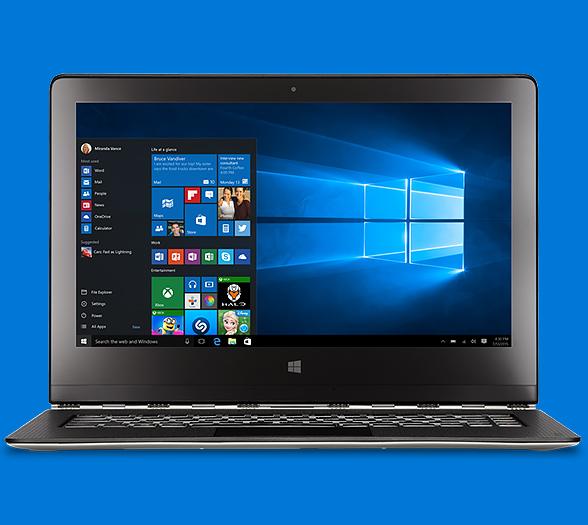A laptop with the Windows 10 Start Menu