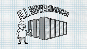 Cartoon guy standing in front of data center towers