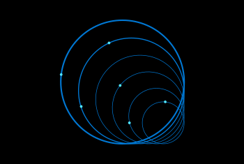 Illustration of over lapping circles with points on rings