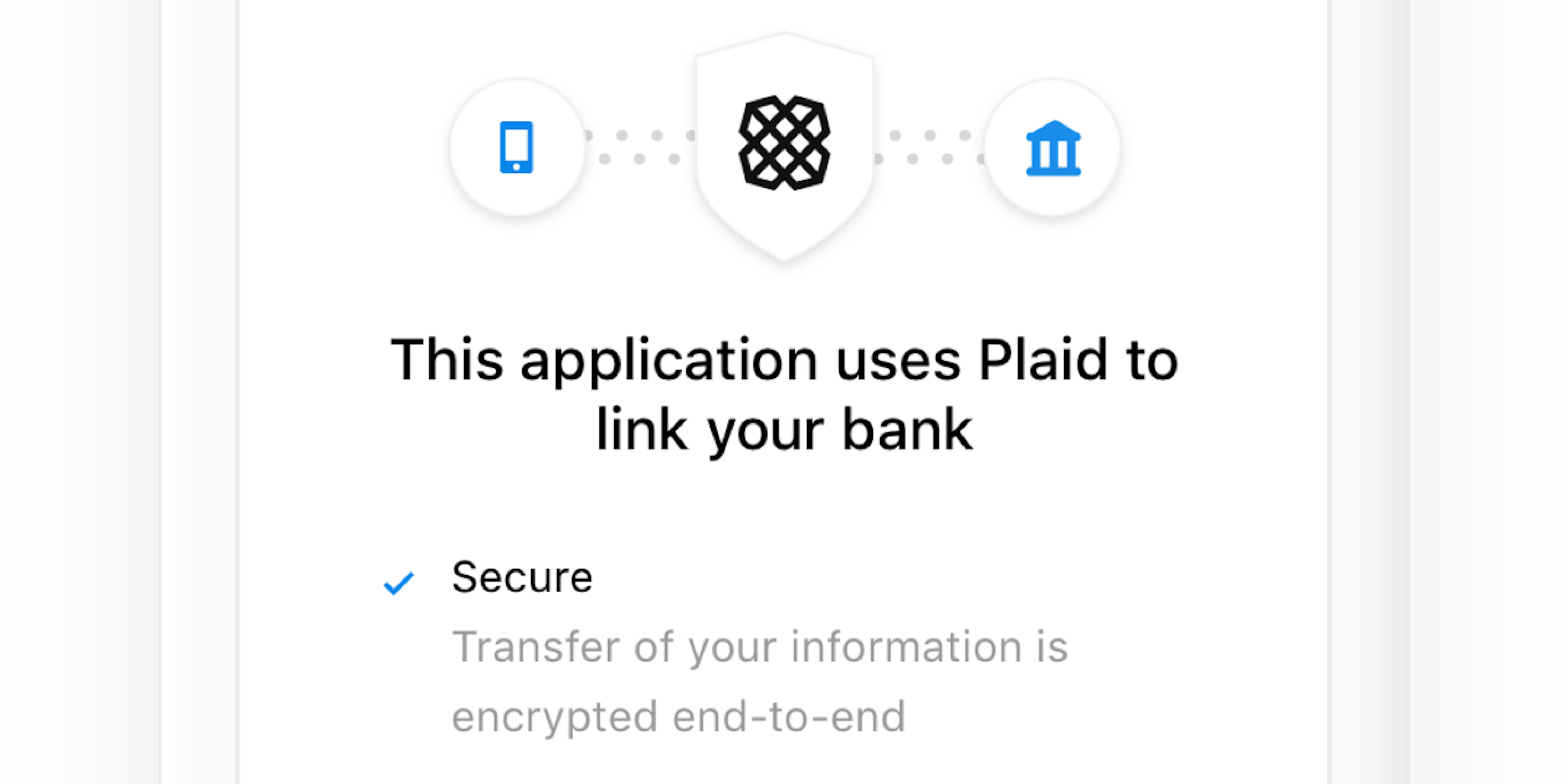 Illustration of Plad logo with mobile device to the left and bank to the right