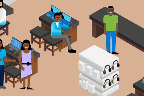 Illustration of people working in Microsoft Store