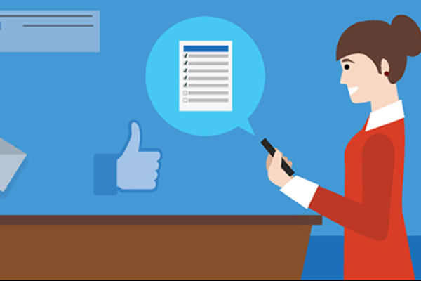 Illustration of woman smiling down at mobile device that she has used to post to Facebook