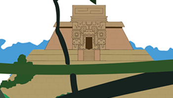 Animated picture of a Mayan pyramid