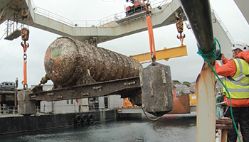Underwater datacenter being pulled out of water