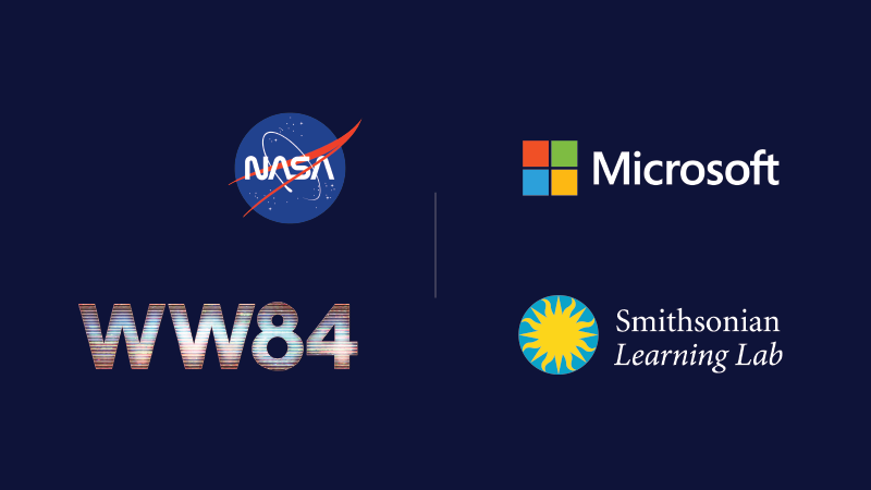 WW84 logo next to the Microsoft logo on top of the Smithsonian Learning Lab logo