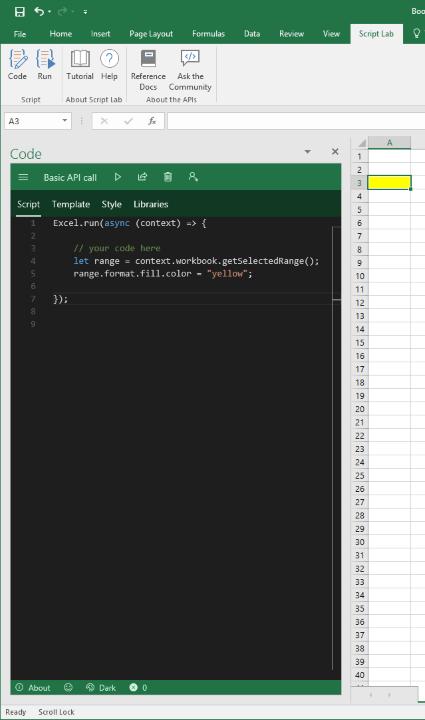 Screenshot of Script Lab interface