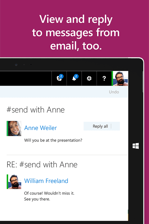 App screenshot with text: View and reply to messages from email, too.