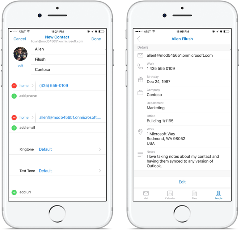Left: new contact information displayed on a device screen. Right: contact details displayed on a device screen.