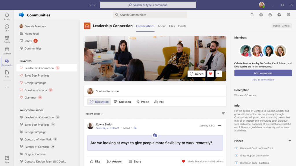 Microsoft Teams app showing how to interact with communities directly.