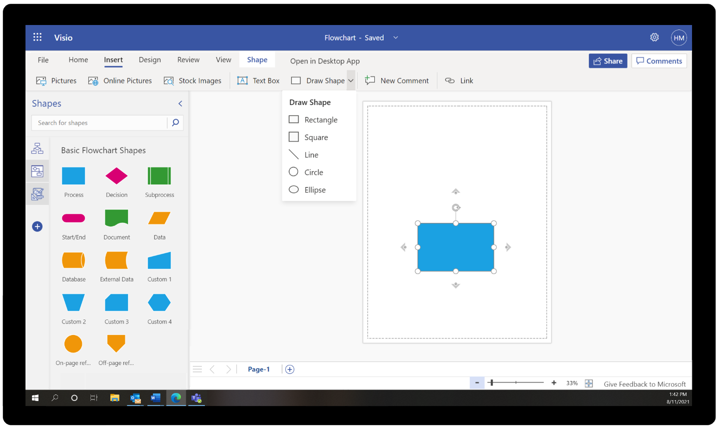 Create shapes in your Visio diagrams with the draw shape tool from the insert tab on the ribbon.