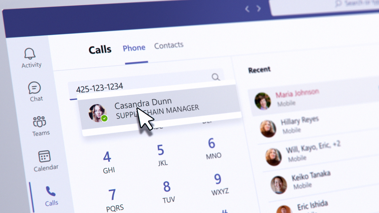 Teams app view showing Calls tab with dial pad, call history, and voicemail.