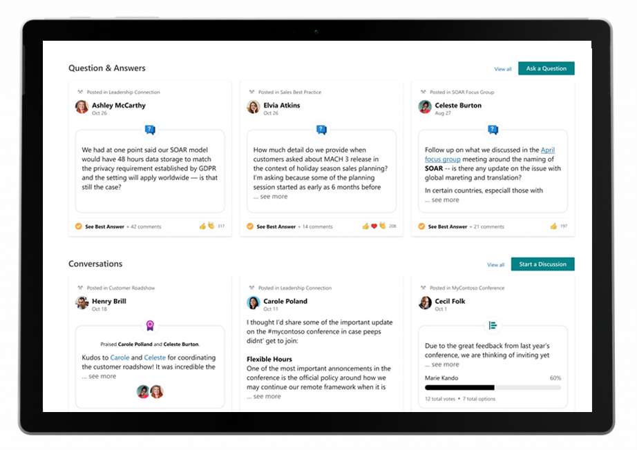 Users will see topics in Yammer enhanced with Viva Topics experiences, such as Viva Topic cards, and Viva Topics experiences like pages and cards will include content from Yammer—such as questions and answers and conversations.
