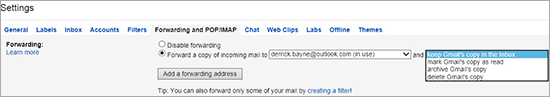 Gmail auto-forwarding page